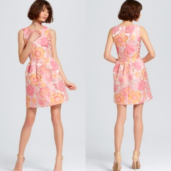 889ea5474c Alison Andrews Dresses | Pink Peach Floral Jacquard Fit Flare Dress ...